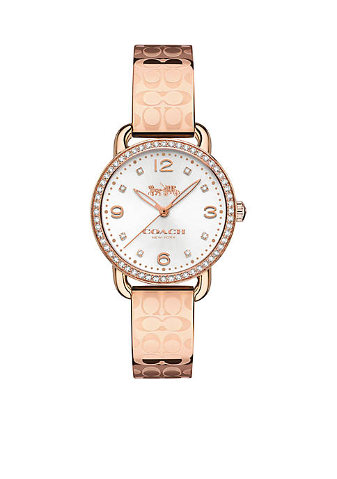 COACH Delancey Rose-Gold Tone Signature Bangle Watch