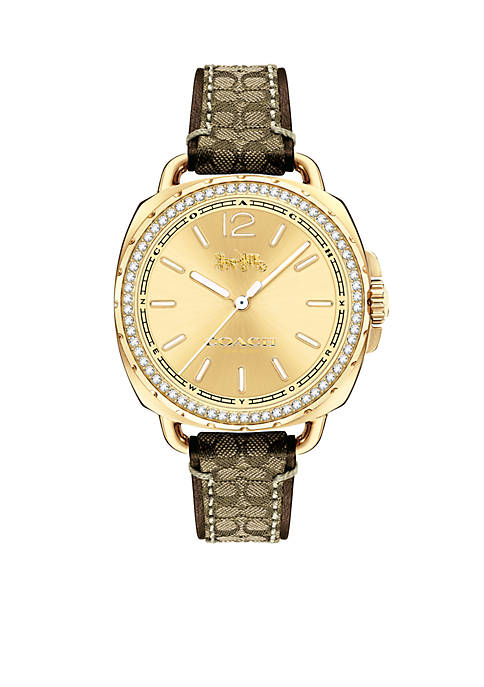 COACH Tatum Gold-Tone Signature Strap Watch