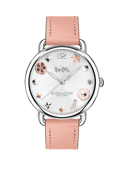 Womens Stainless Steel Delancey Leather Strap Watch With Charm Dial