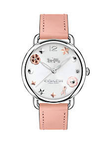 Women's Stainless Steel Delancey Leather Strap Watch With Charm Dial