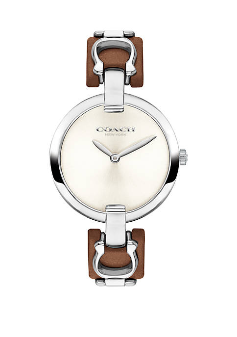 COACH Stainless Steel Chrystie Leather Strap Watch