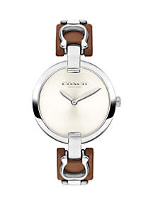 Stainless Steel Chrystie Leather Strap Watch