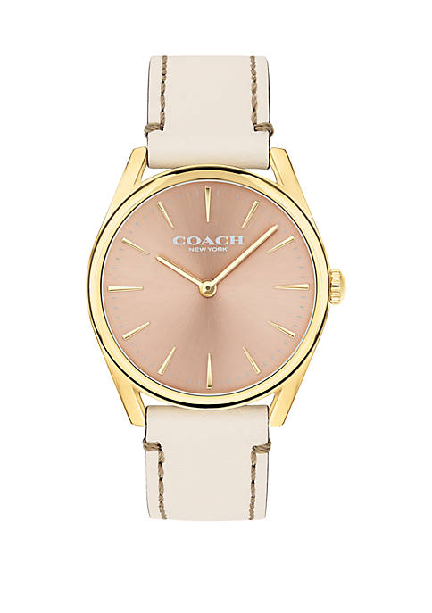 COACH Gold-Tone Stainless Steel Modern Luxury Leather Strap