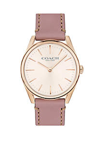 Rose Gold-Tone Stainless Steel Modern Luxury Leather Strap Watch