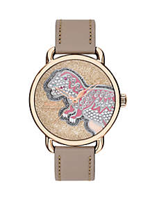 Delancey Glitter Dial Stone Leather Strap Watch