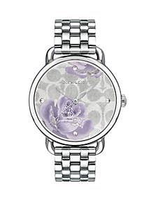 Delancey Stainless Steel Floral Dial Watch