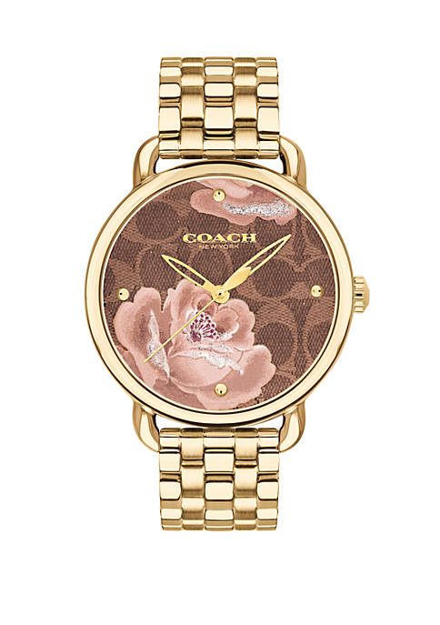 Gold-Tone Stainless Steel Delancey Watch With Floral Dial
