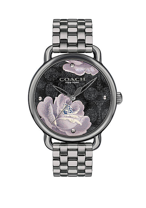 Stainless Steel Delancey Grey IP Watch with Purple Flower and Black Dial Bracelet Watch