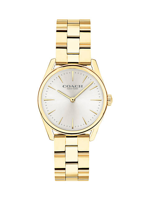 COACH Gold-Tone Stainless Steel Modern Luxury Bracelet Watch