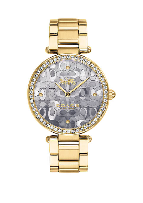 COACH Gold Tone Mosaic Mother Of Pearl Dial
