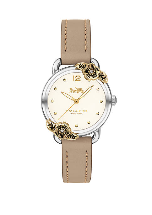 COACH Gold Plated Delancey Tea Rose Stone Leather