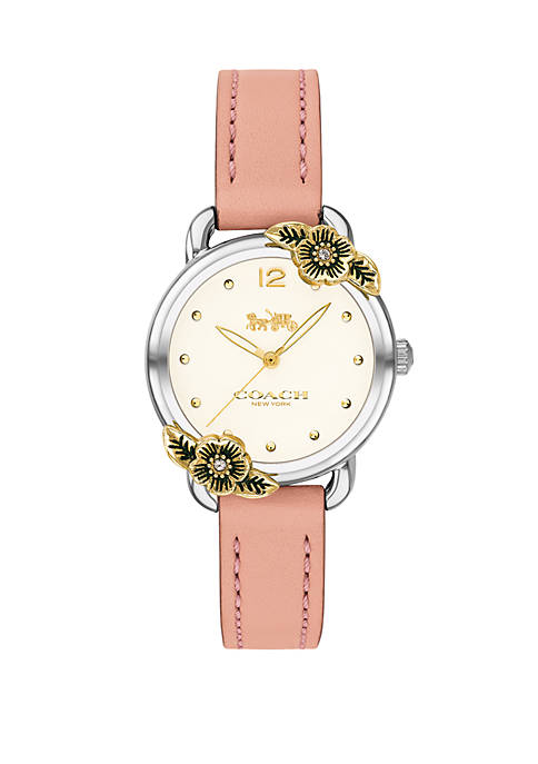 Stainless Steel Delancey Tea Rose Blush Leather Strap Watch, 28 mm