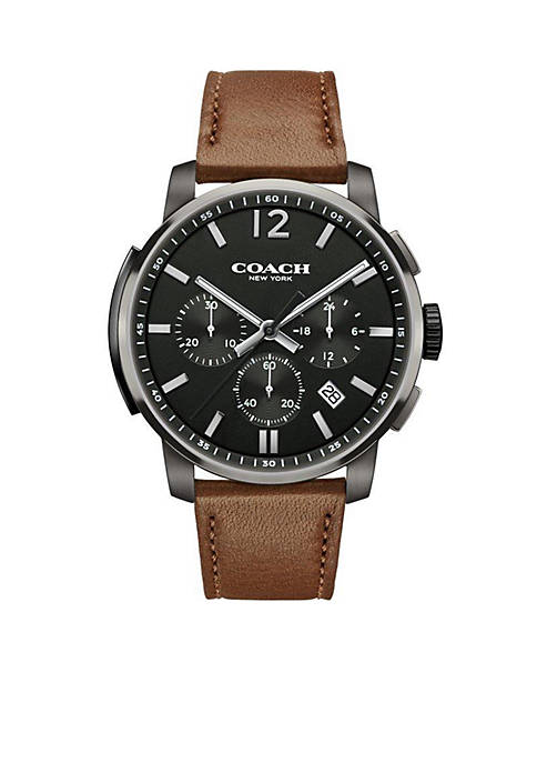 COACH Mens Ionized-Plated Bleecker Chrono Leather Strap Watch