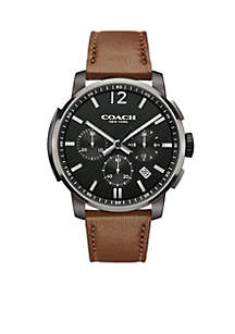 Men's Ionized-Plated Bleecker Chrono Leather Strap Watch