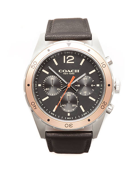 COACH Mens Stainless Steel Sullivan Sport Leather Strap