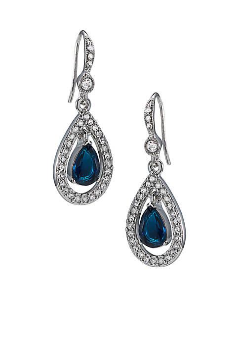 Carolee Simply Blue Crystal Teardrop Pierced Earrings
