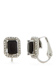 Silver-Tone Crystal Button Clip Earrings