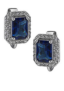 Simply Blue Rectangular Button Crystal Clip-On Earrings