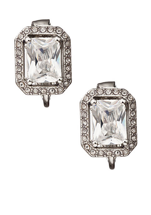Carolee Crystal Button Clip Earrings