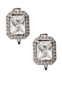 Crystal Button Clip Earrings