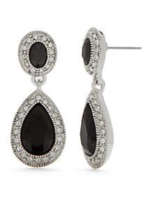 Silver-Tone Stone Double Drop Earrings