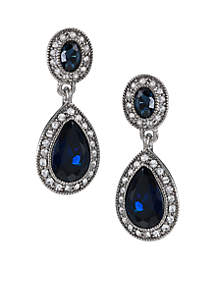 Carolee Simply Blue Pave Double Drop Earrings