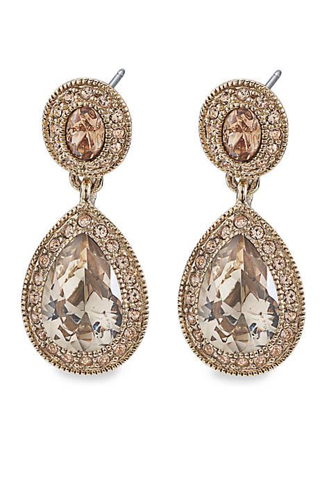 Carolee Topaz Crystal Double Drop Pierced Earrings