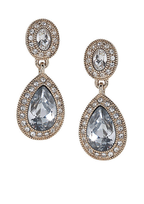 Carolee Gold-Tone Champagne Toast Pave Stone Double Drop