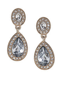 Gold-Tone Champagne Toast Pave Stone Double Drop Earrings