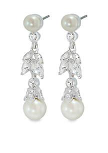 Floral Pearl Linear Drop Pierced Earrings