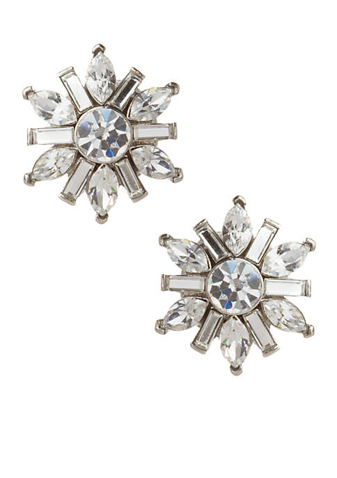 Small Crystal Floral Button Earrings
