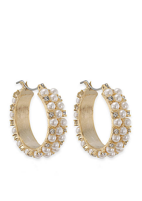 Carolee Mini Make Over White Pearl Hoop Pierced
