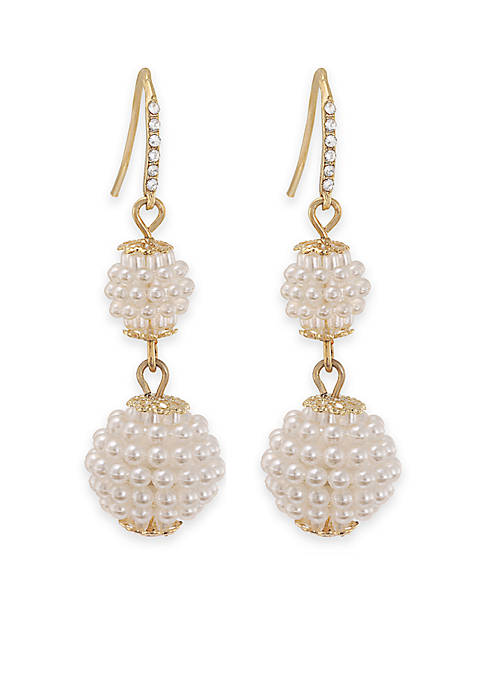 Carolee Mini Make Over White Pearl Double Drop