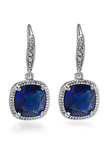 Uptown Girl Sapphire Crystal Cushion Drop Pierced Earrings