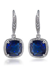 Elizabeth Sapphire Crystal Cushion Drop Pierced Earring