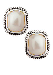 Large Pearl with Cable Edge Clip Earrings