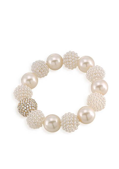 Carolee Aria White Pearl Stretch Bracelet