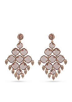 Carolee Rose Gold-Tone Clipped to Perfection Chandelier Clip Earrings
