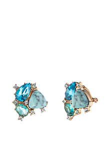 Gold-Tone Cluster Stud Clip Earrings