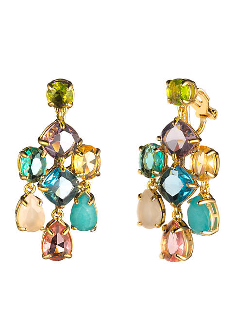Carolee Gold-Tone Malibu Dreams Ec-Stone Chandelier Clip Earrings