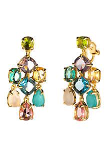Gold-Tone Malibu Dreams Ec-Stone Chandelier Clip Earrings