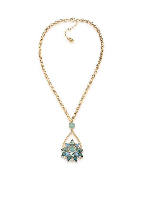 Carolee Crackled Stones Pendant Necklace