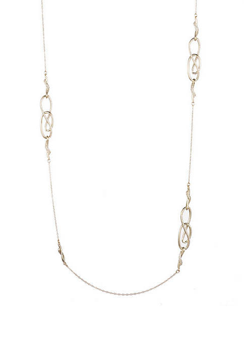 Gold-Tone Twisted Station Necklace