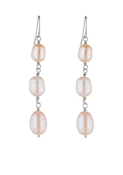 Carolee Blush Freshwater Pearl Linear Drop Earrings