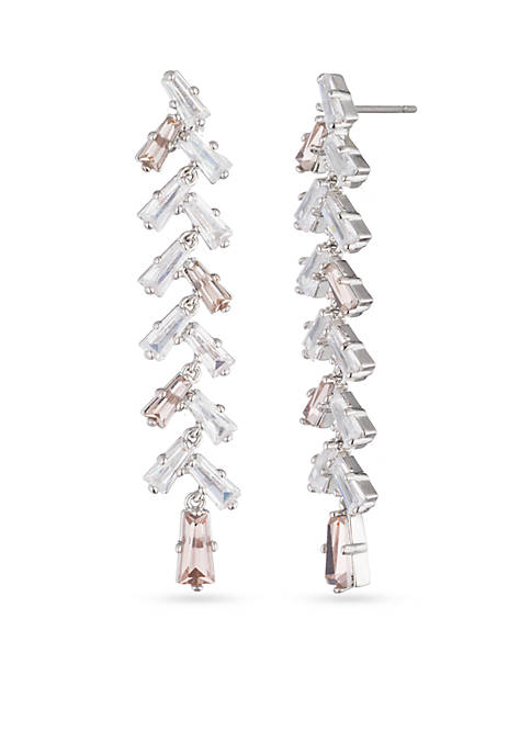 Carolee Silver-Tone Crystal Bouquet Long Linear Pierced Earrings