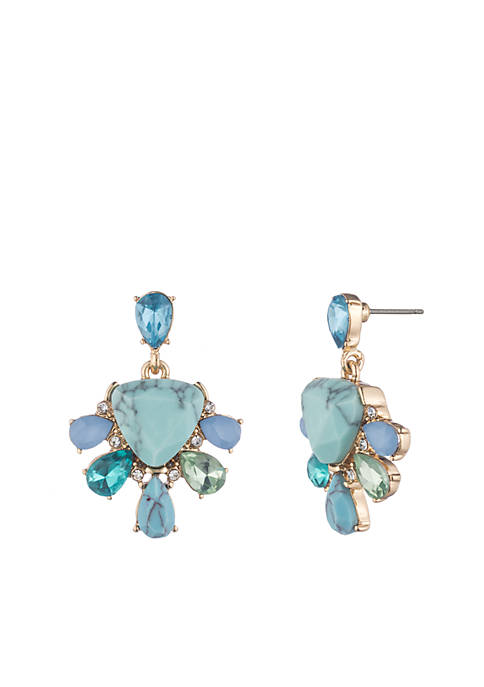 Carolee Gold-Tone Turquoise Garden Double Drop Earrings