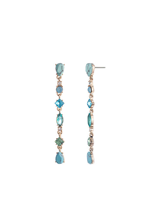 Carolee Gold-Tone Turquoise Garden Stone Linear Earrings