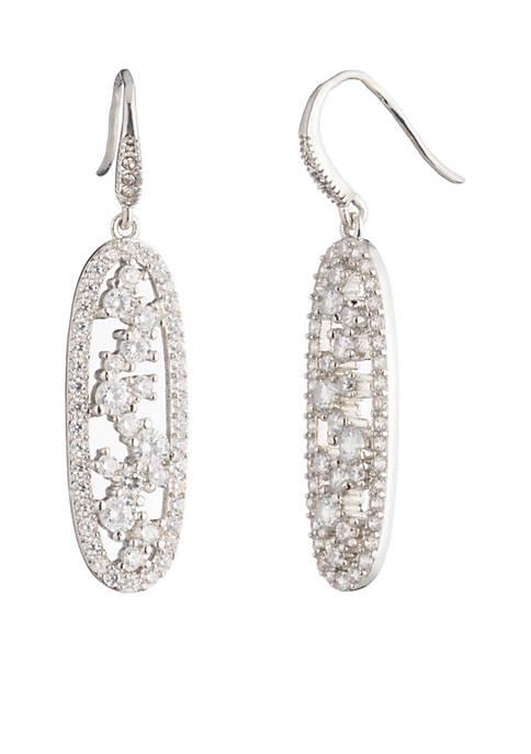 Silver-Tone Cluster Drop Pierced Earrings