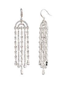 Silver-Tone Fringe Chandelier Earrings