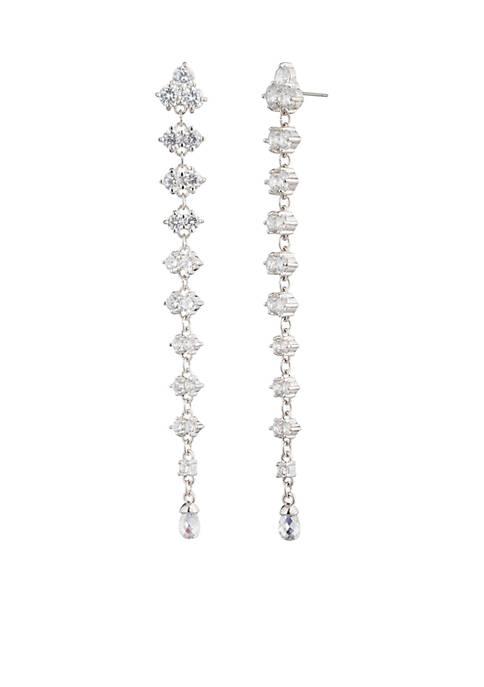 Silver-Tone Linear Pierced Earrings